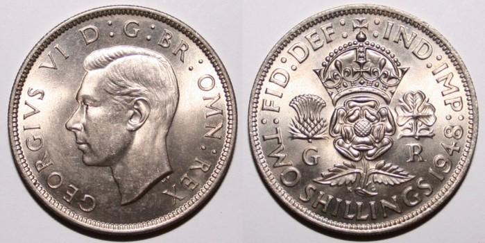 Coins of the UK - Two Shillings or Florin